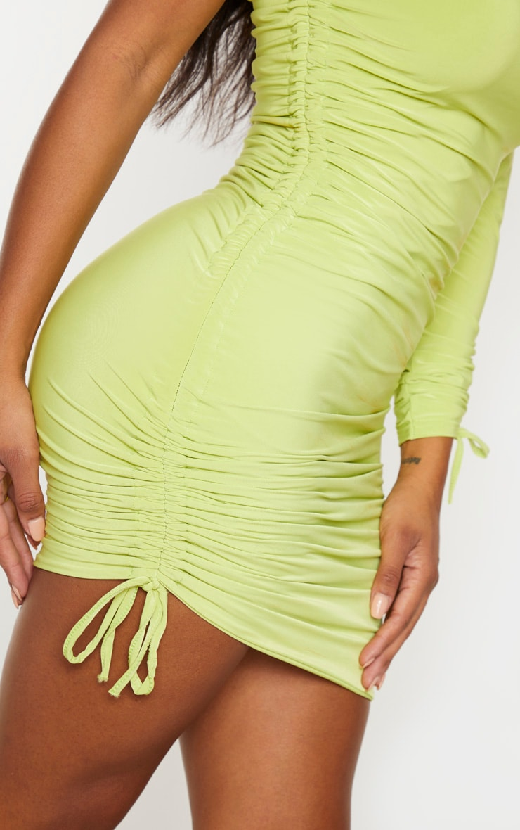 Shape Lime Slinky Ruched Side One Sleeve Bodycon Dress 5