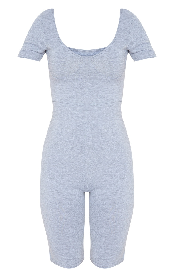 Grey Short Sleeve Cup Detail Unitard 3