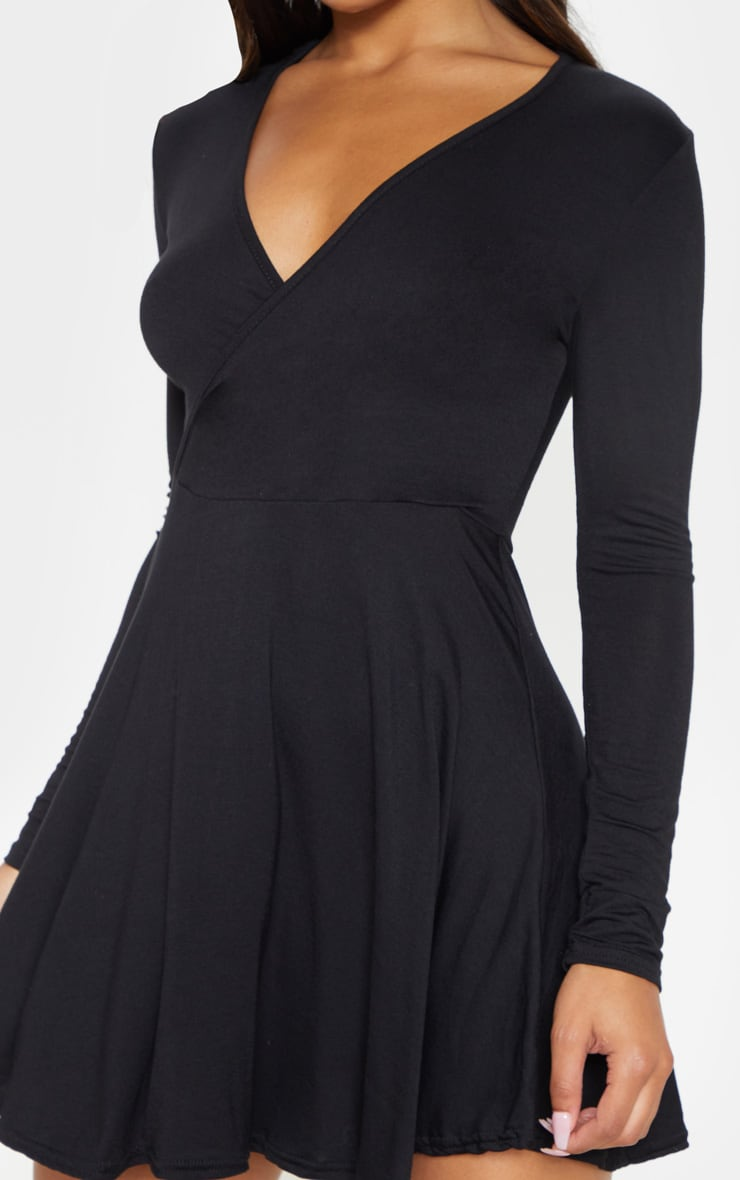 Black Jersey Wrap Long Sleeve Skater Dress 5
