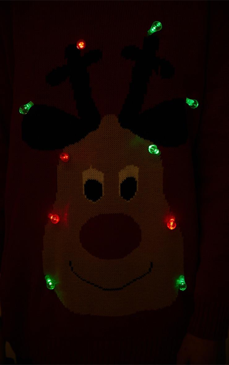 Jenny Red Light Up Reindeer Christmas Jumper 3