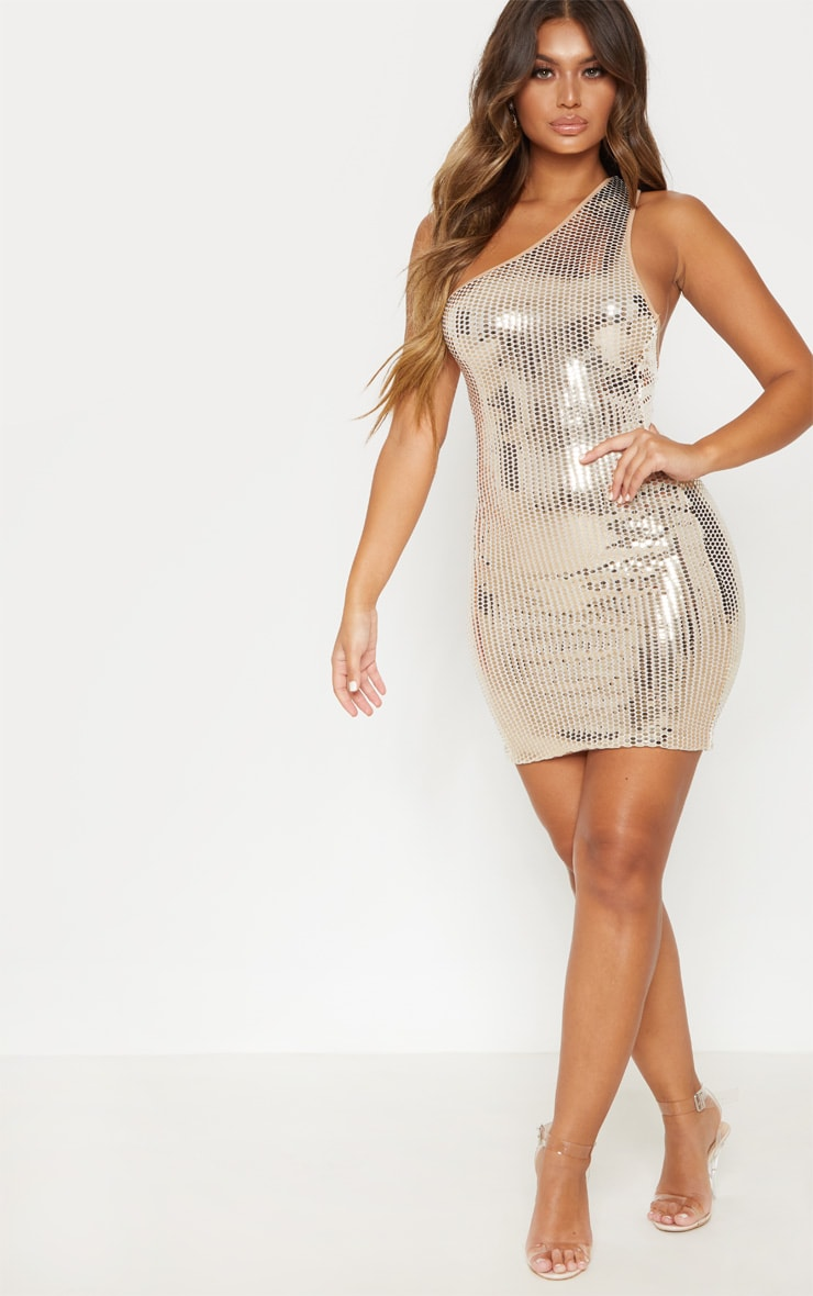 Gold Mirrored Sequin One Shoulder Bodycon Dress 4