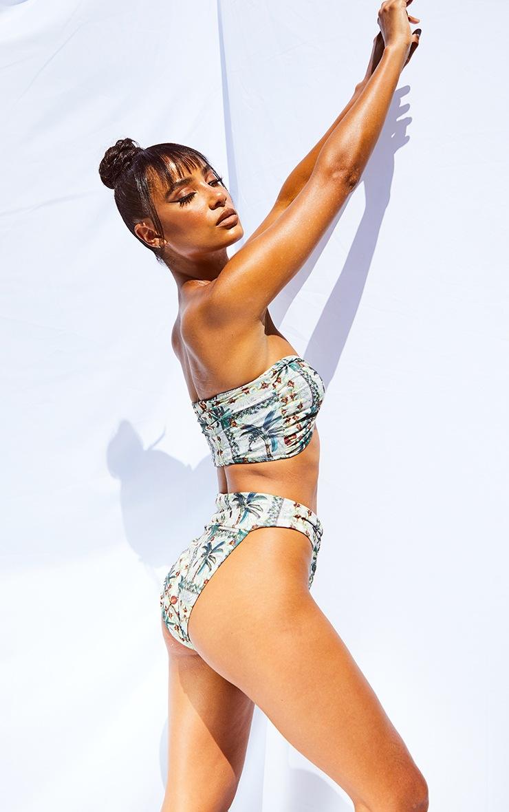 Cream Palm Print Hammered Trim Bikini Top 5