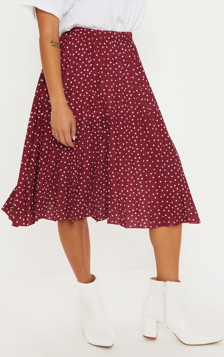 Petite Burgundy Polka Dot Pleated Midi Skirt 2