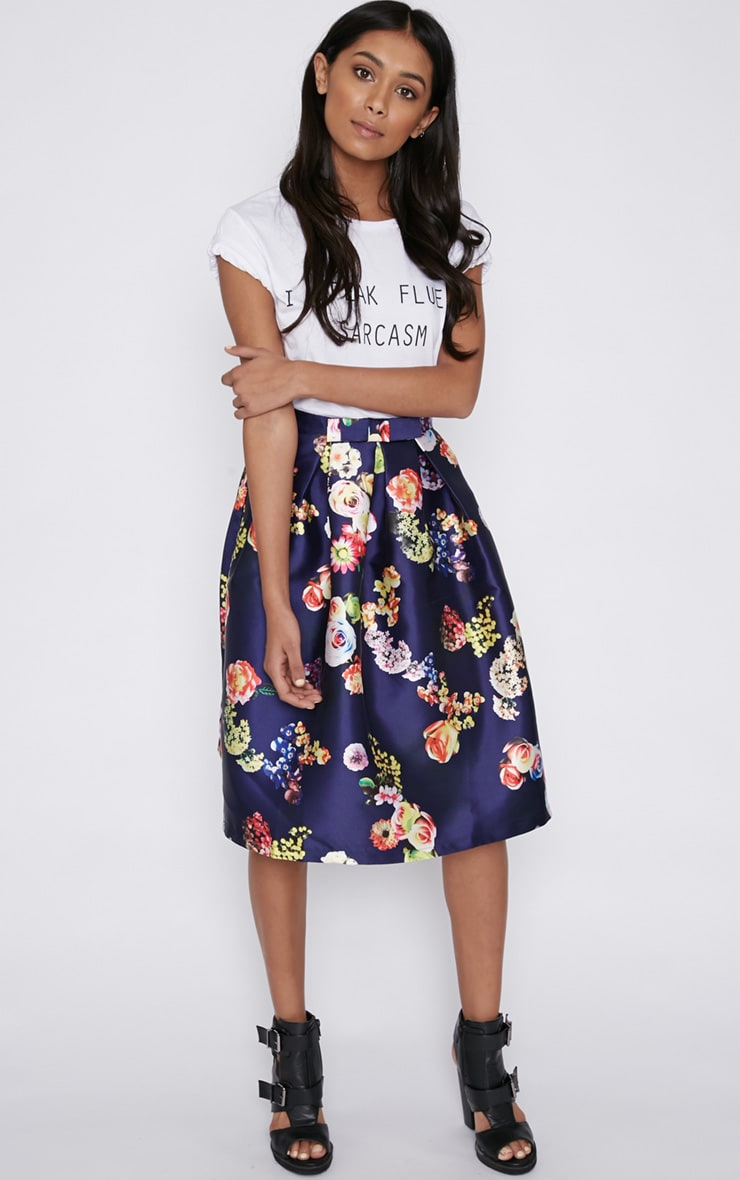 Harley Navy Floral Print A-Line Skirt 4