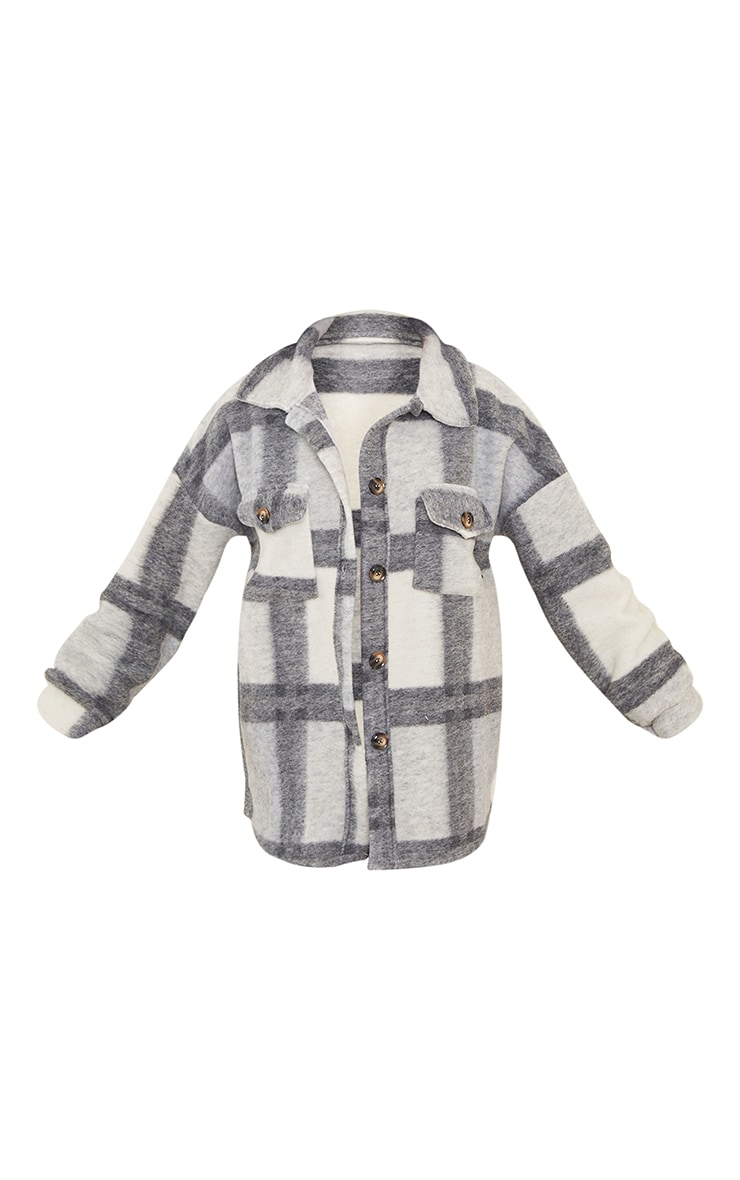 Petite Grey Brushed Check Oversized Shacket 5