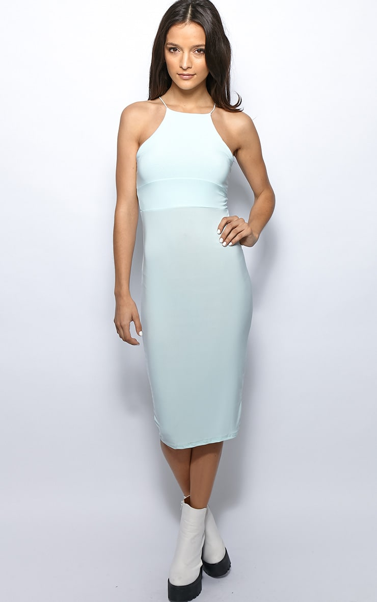 Michelle Blue Lurex Bodycon Dress 1