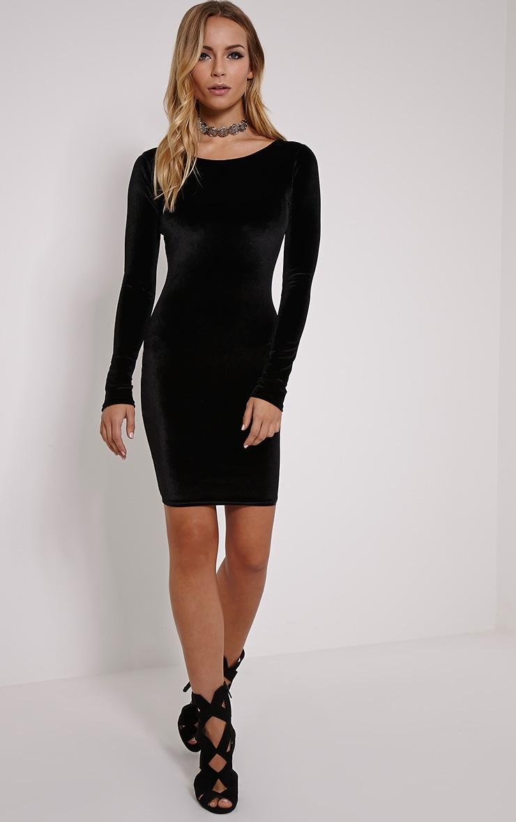 Bonny Black Round Neck Velvet Mini Dress 3