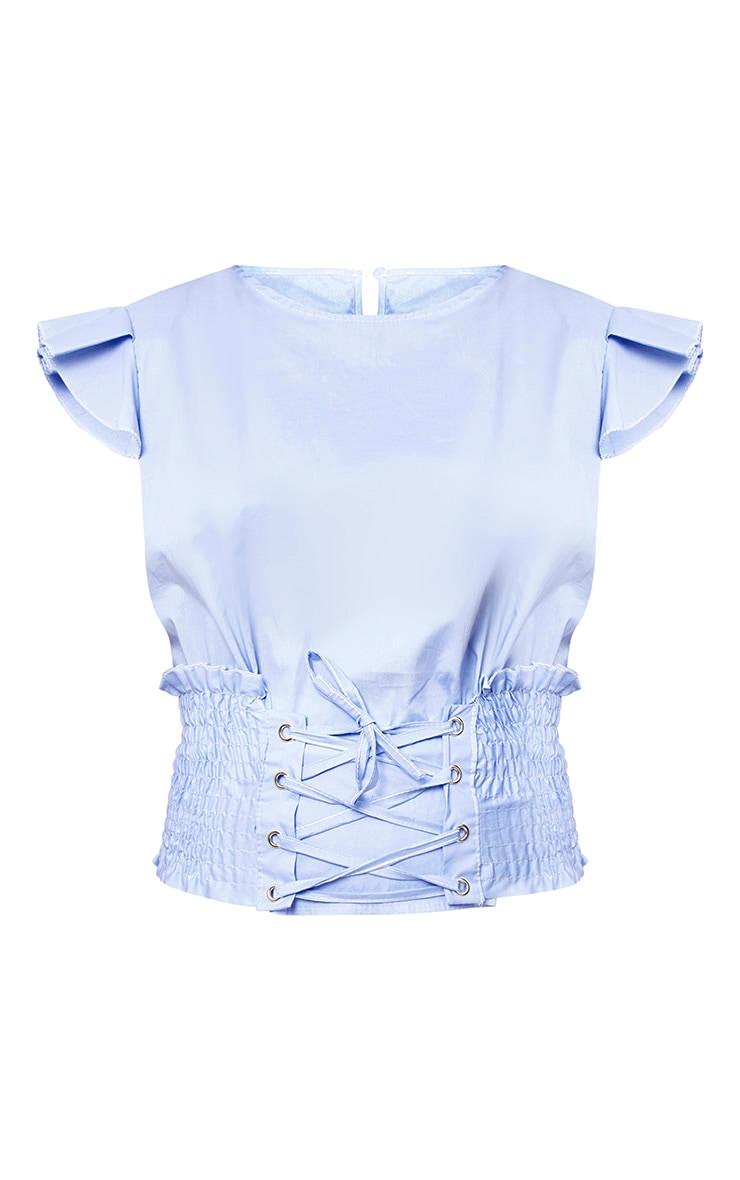 Blue Corset Frill Sleeve Shirt 3