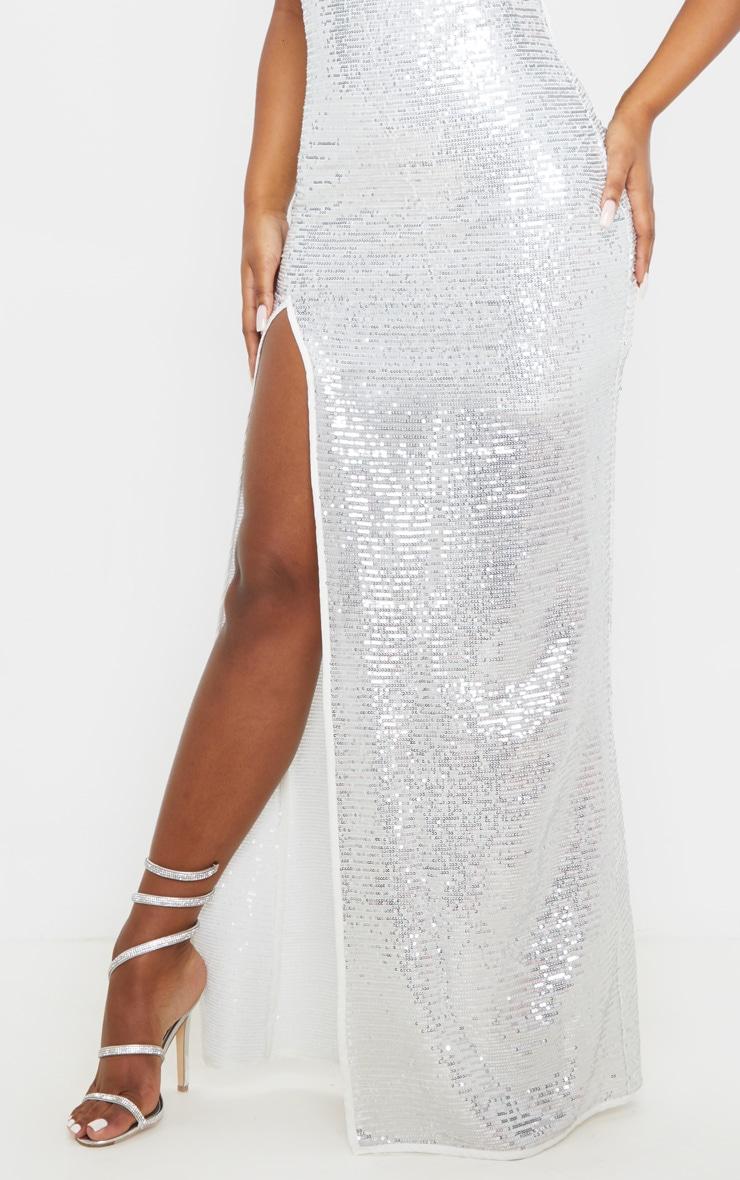 Silver Sequin Tie Strap Cowl Neck Maxi Dress 5