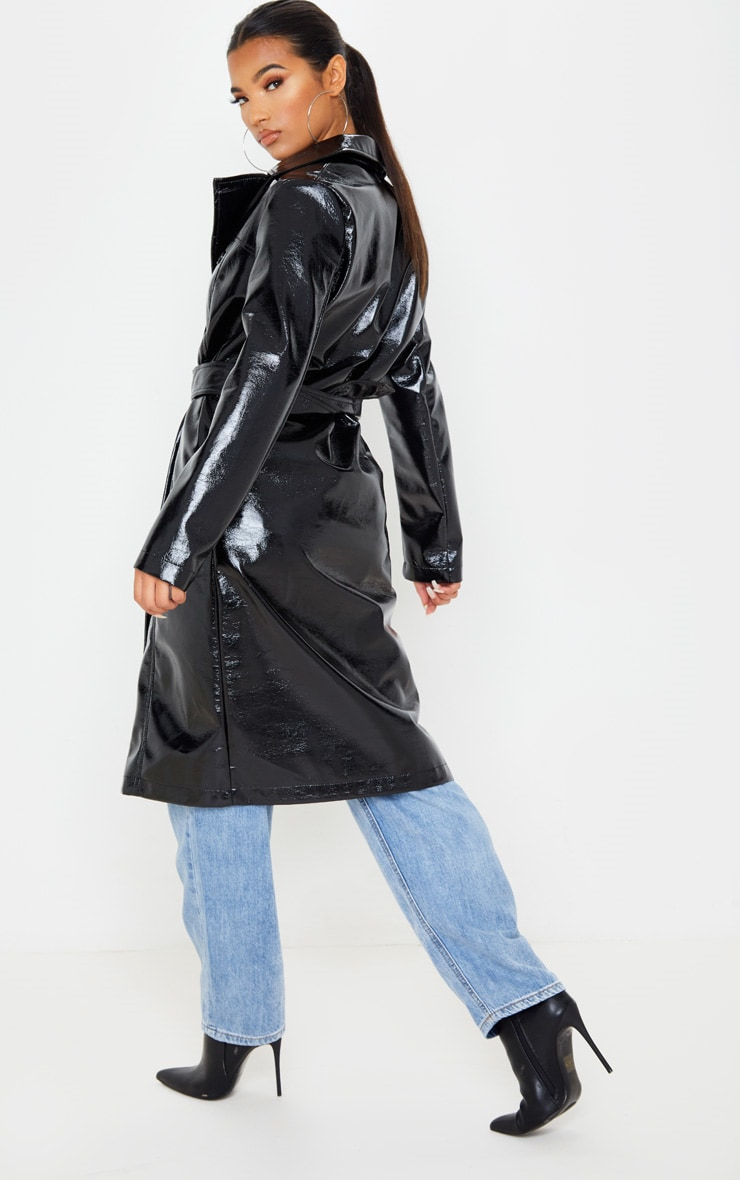 Black Vinyl Crinkle Trench Coat 2