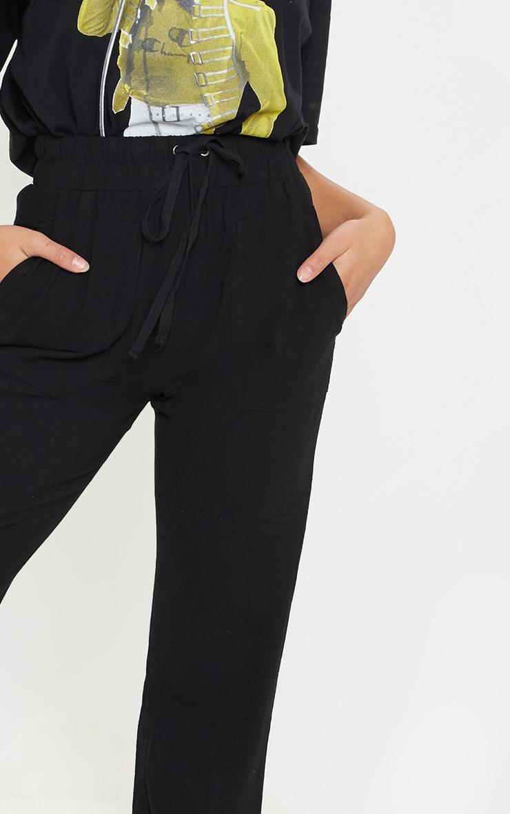 Petite Black Drawstring Woven Straight Leg Pants 5