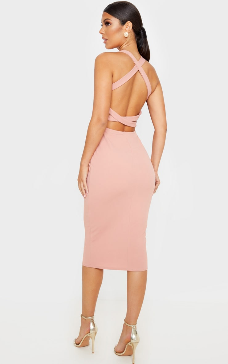 Dusty Pink Strappy Back Midi Dress 1