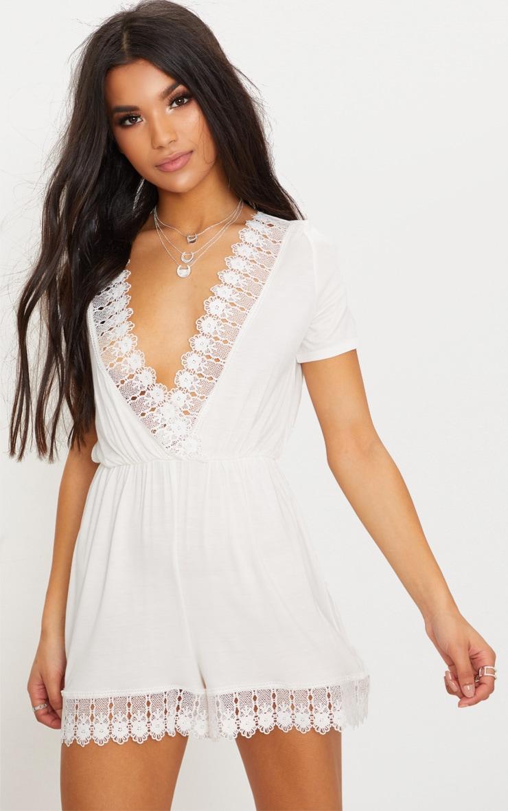 White Crochet Trim Short Sleeve Playsuit 4