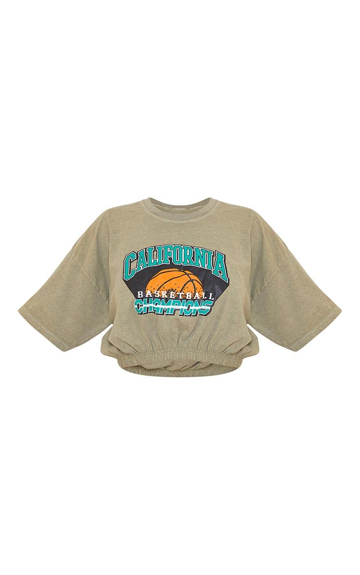 Green Washed Cali Basketball Slogan Elastic Hem T Shirt 5