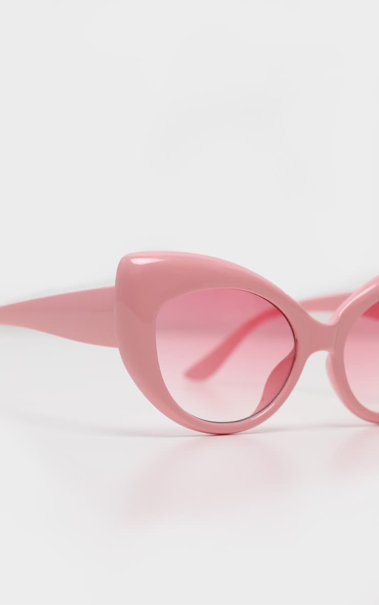 Pink Retro Chunky Cat Eye Frame Sunglasses 5
