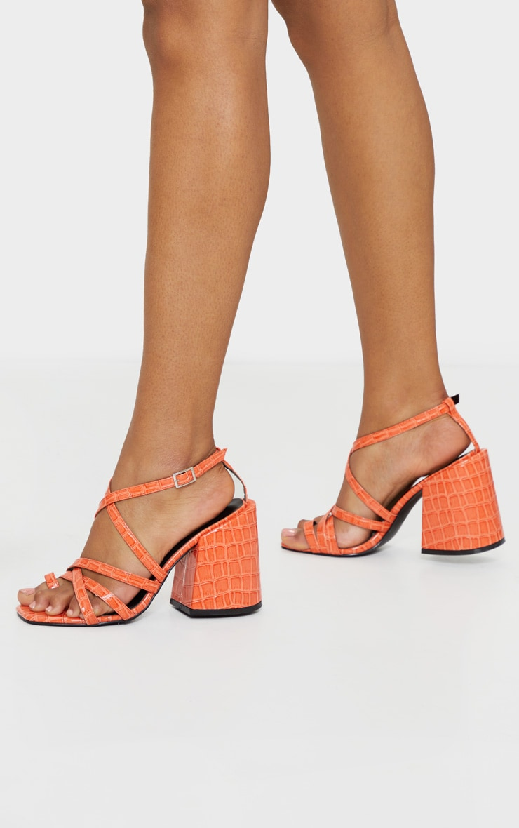 Orange Extreme Block Heel Toe Thong Strappy Sandal 2
