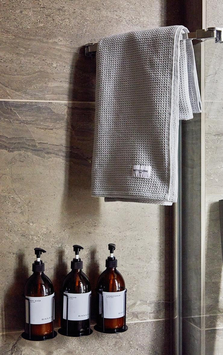 Grey Waffle Cotton Medium Bath Towel 1
