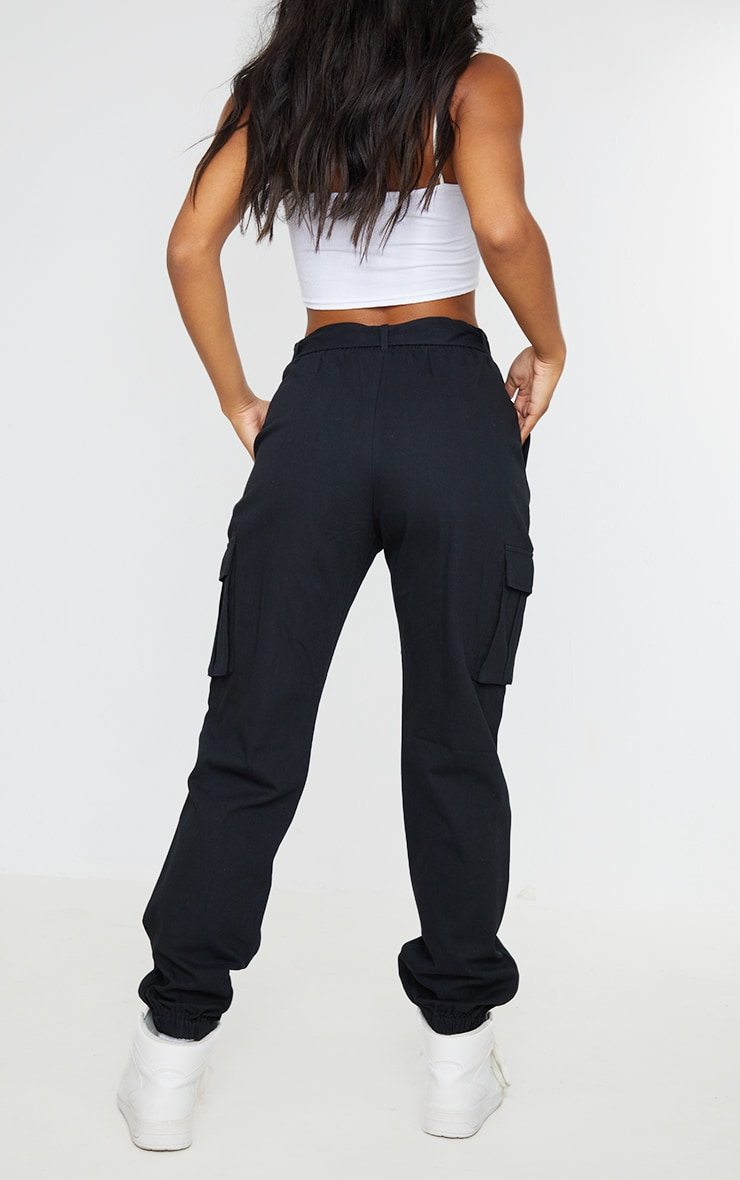 Black Utility Buckle Belt Joggers 3