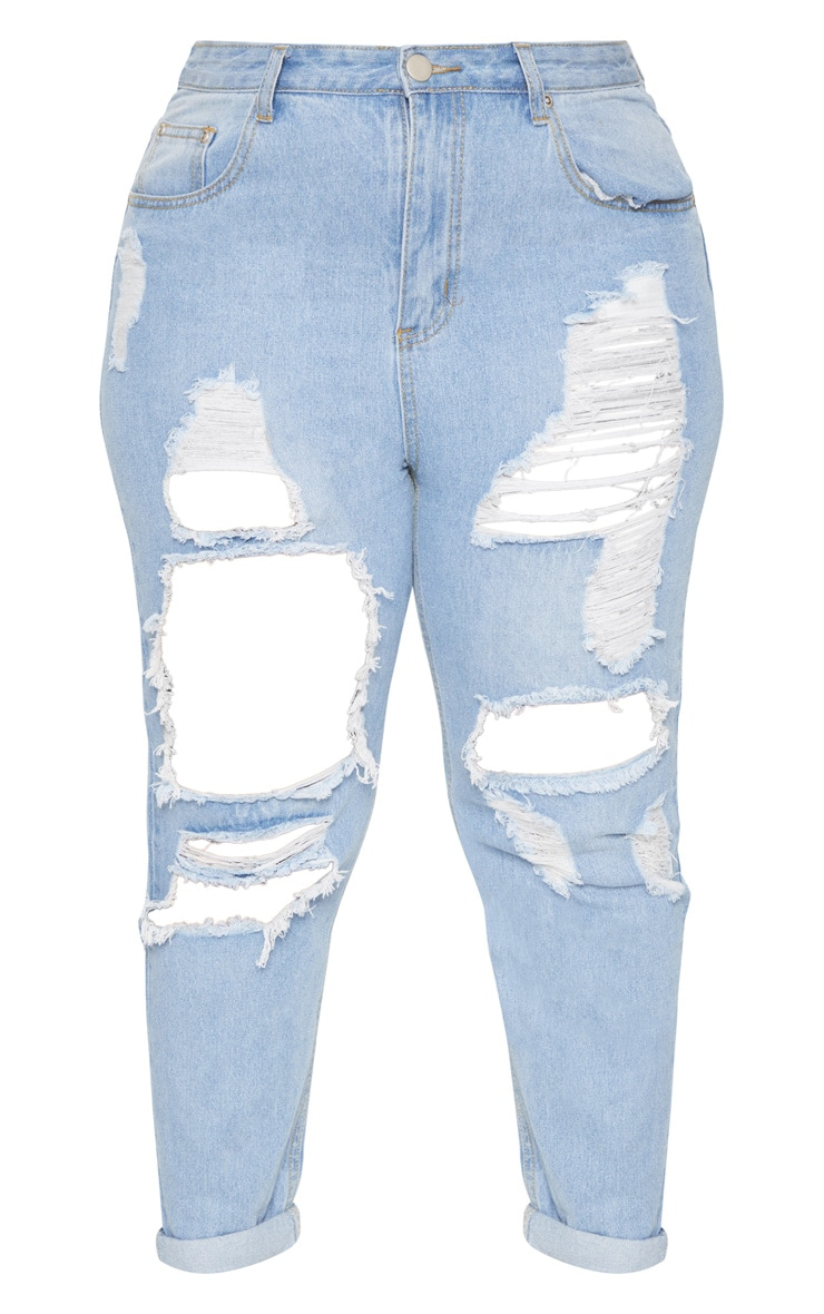 Plus Light Wash Extreme Rip Mom Jeans 3