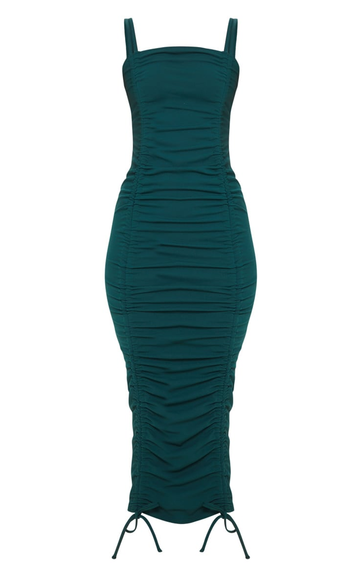 Emerald Green Strappy Ruched Midi Dress 3