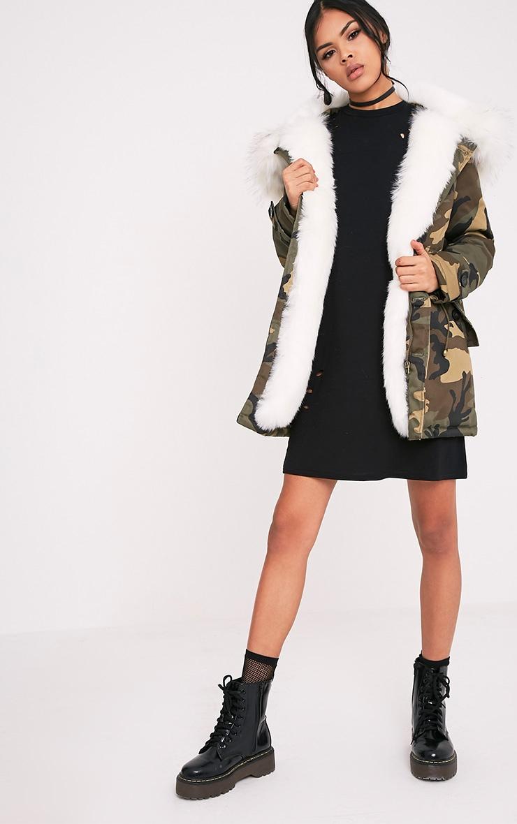 Fliss Premium parka camouflage à doublure en fausse fourrure blanche 5