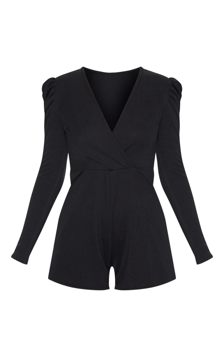 Black Long Puff Sleeve Wrap Playsuit 3