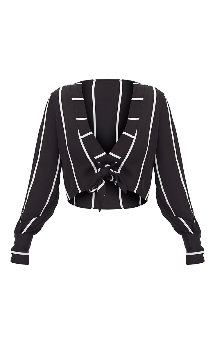 Black Tie Front Stripe Cropped Blouse 3