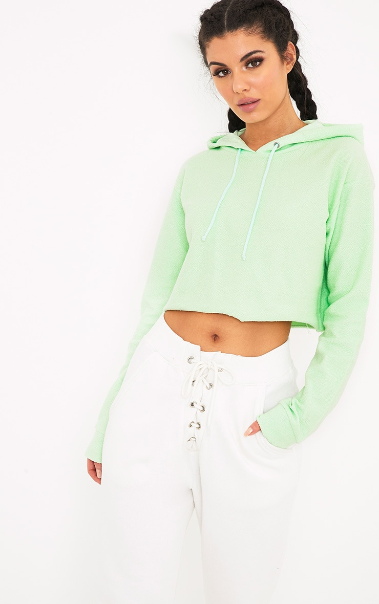Charissa Pastel Green Inside Out Cropped Hoodie 4