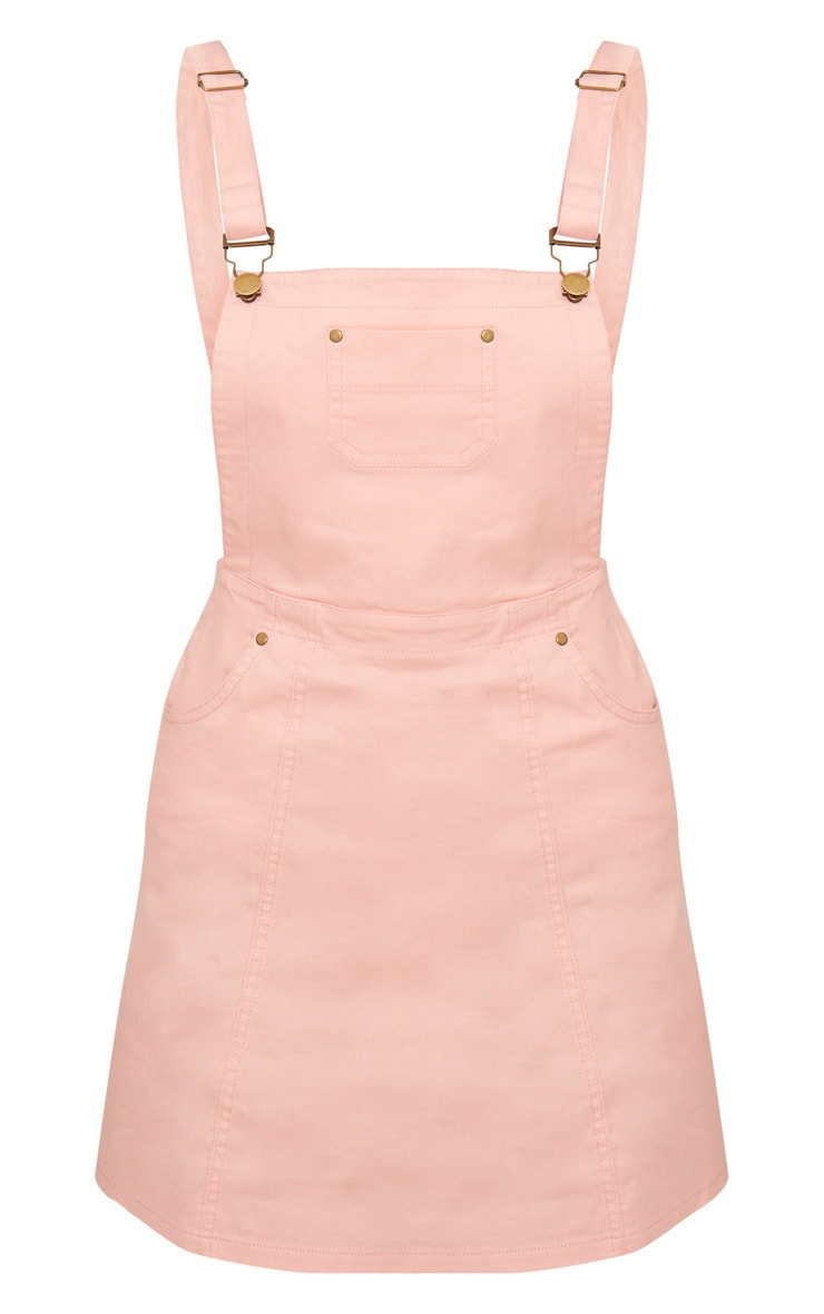 Martine Baby Pink Denim Pinafore Dress 3