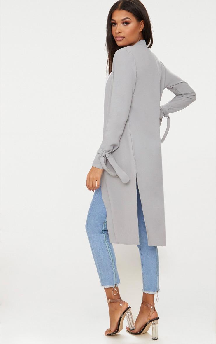 Aba manteau ample gris à manches nouées 2