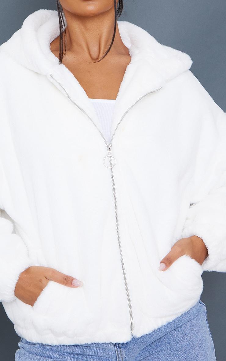 Cream Faux Fur Balloon Sleeve Hooded Jacket 4