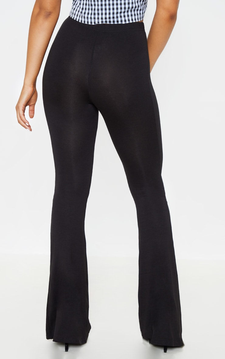 Petite Basic Black Jersey Wide Leg Flares  4