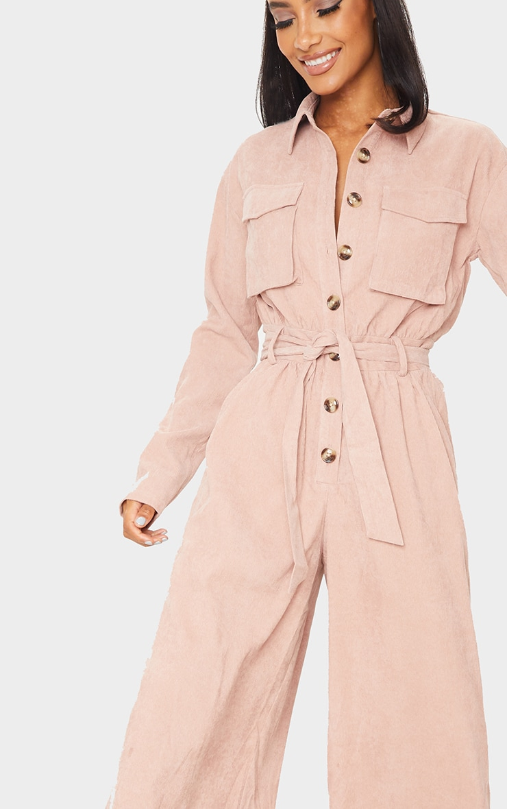 Blush Cord Pocket Detail Utility Jumpsuit 4