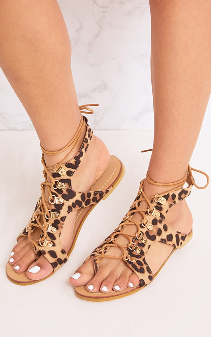 Nerina Animal Print Lace Up Gladiator Sandals 2