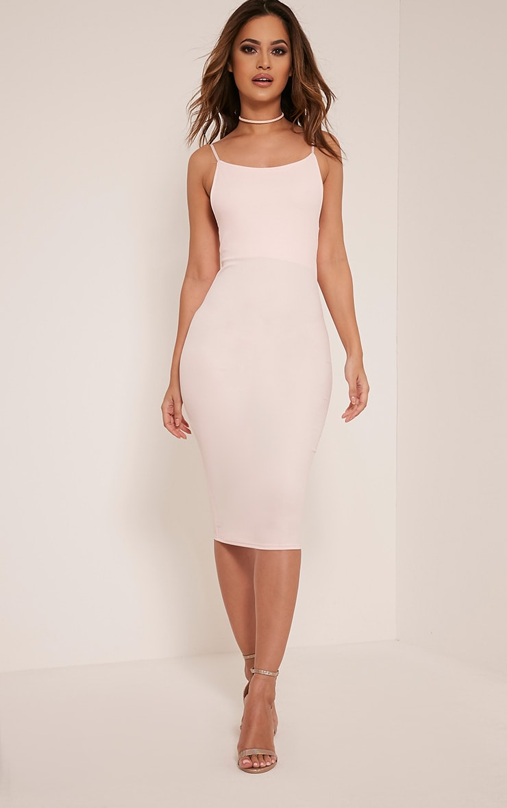 Ada Nude V Back Crepe Midi Dress 5