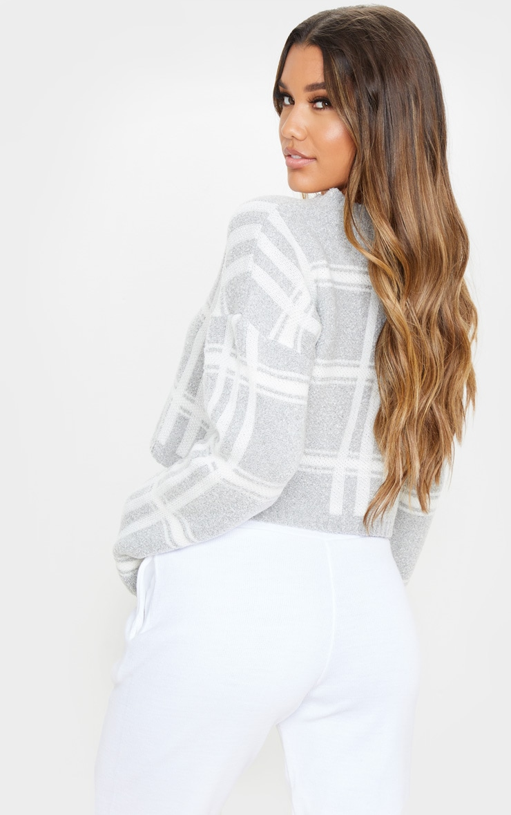 Grey Check Boucle Cropped Jumper 2