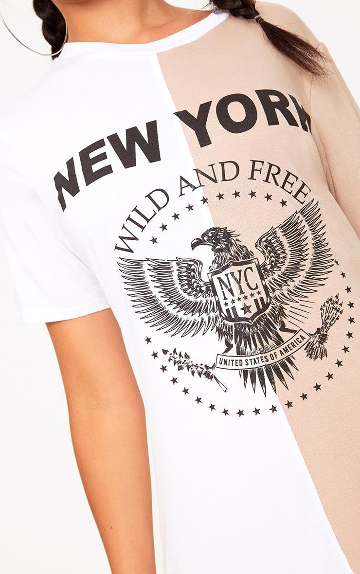 White Wild & Free Spliced Slogan T Shirt 5