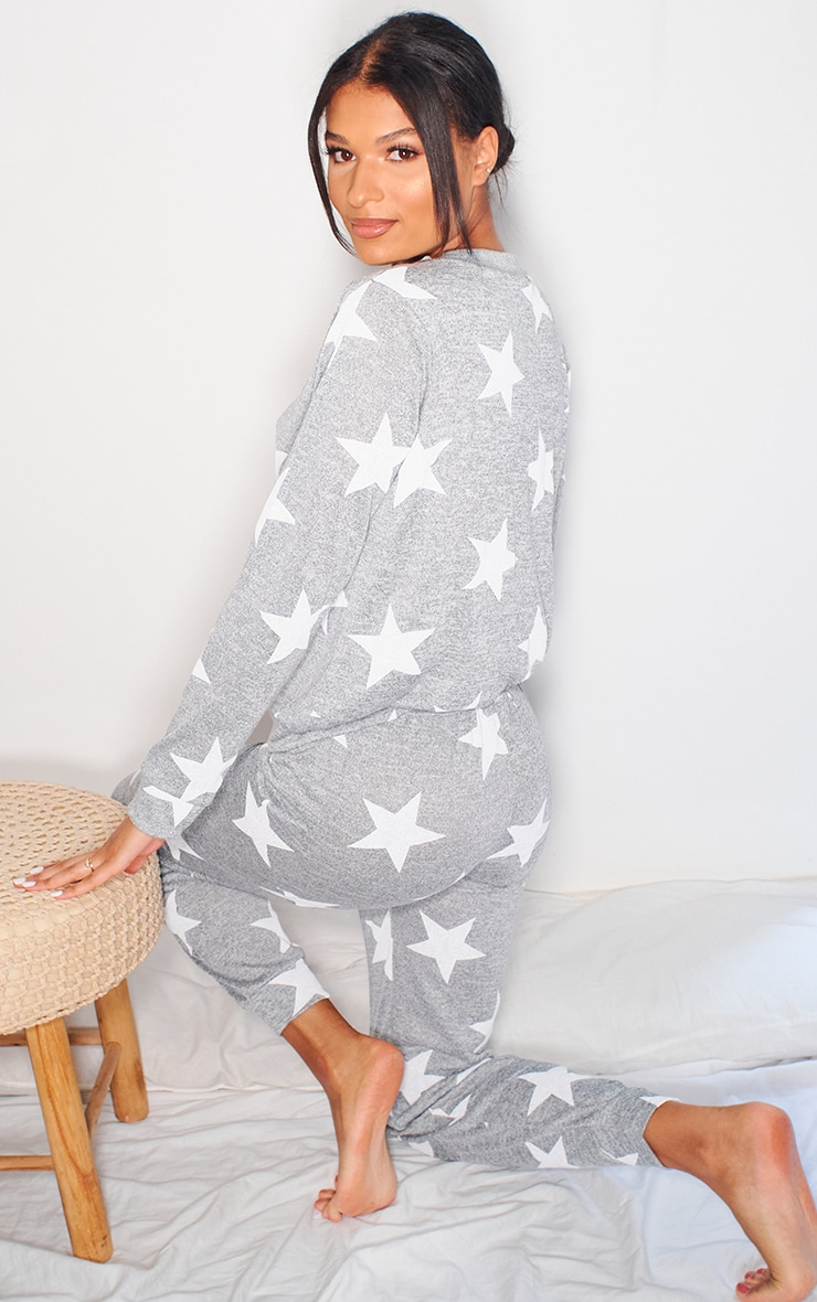Grey and White Star Print Long PJ Set 2