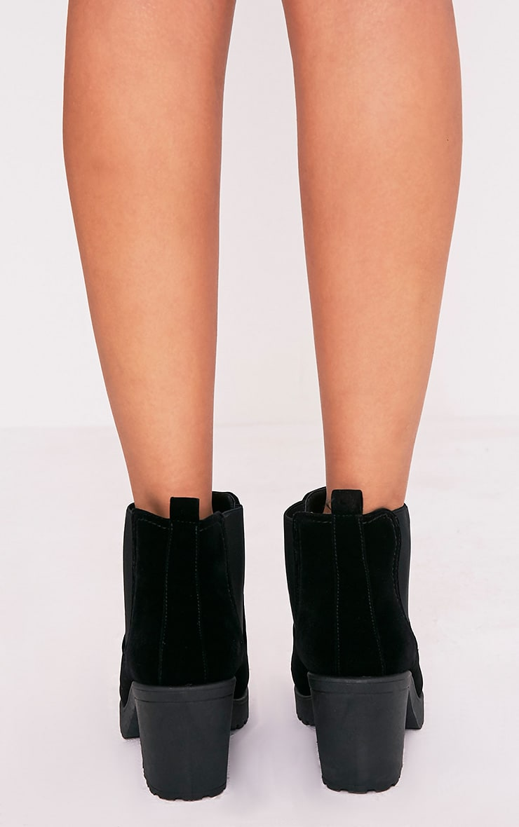 Daria Black Faux Suede Heeled Ankle Boots 4