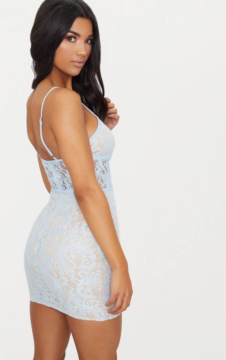 Dusty Blue Lace Strappy Panelled Bodycon Dress 2