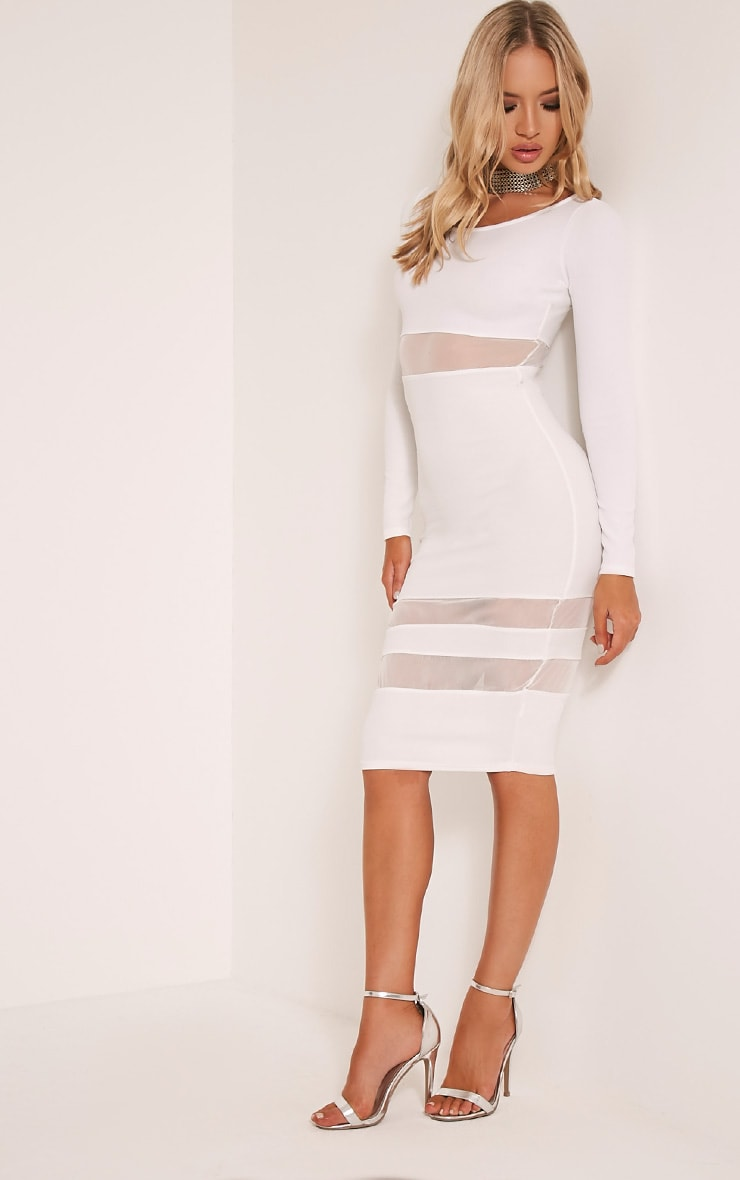 Kaycee White Long Sleeve Mesh Panel Midi Dress 5