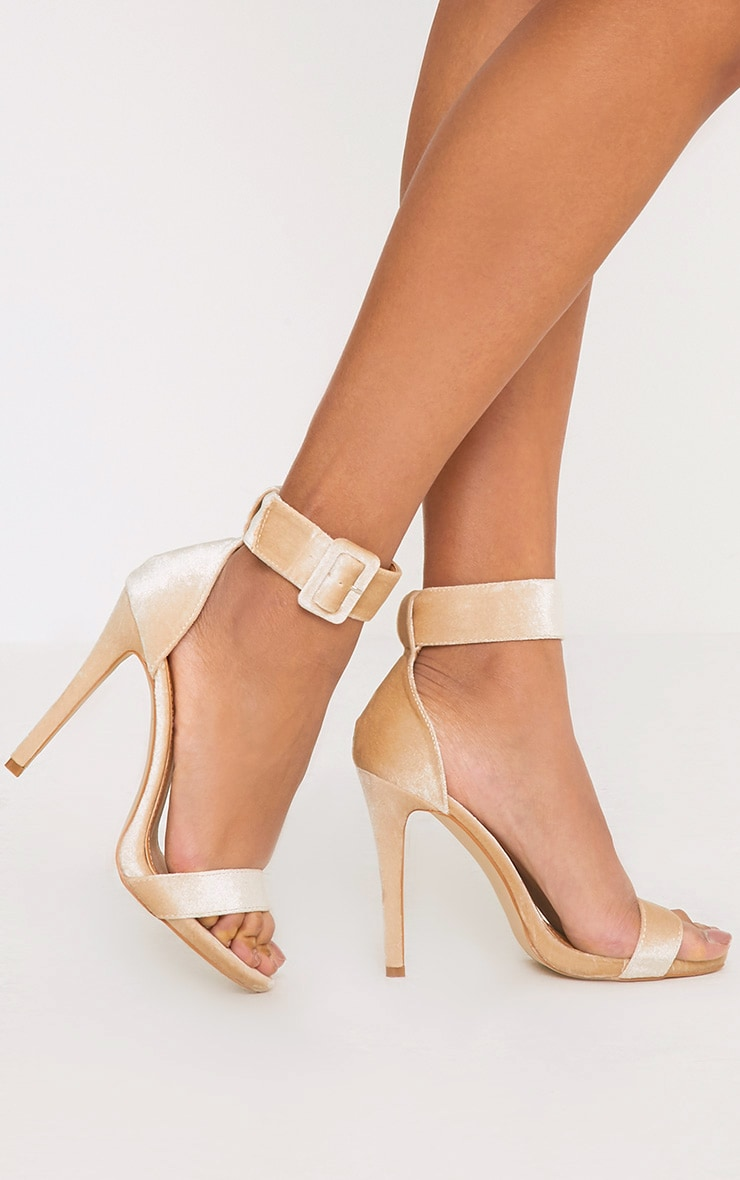 Marelda Nude Velvet Cuff Heels 1