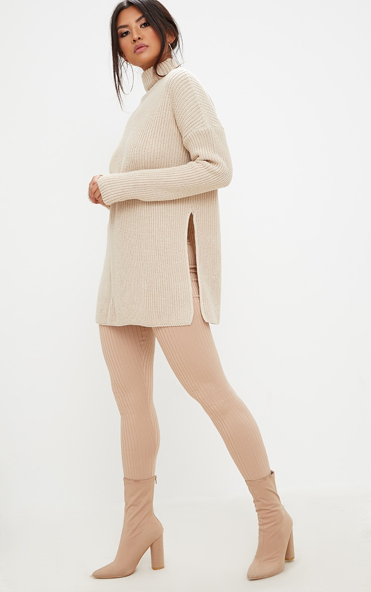Stone High Neck Knitted Oversized Jumper 4