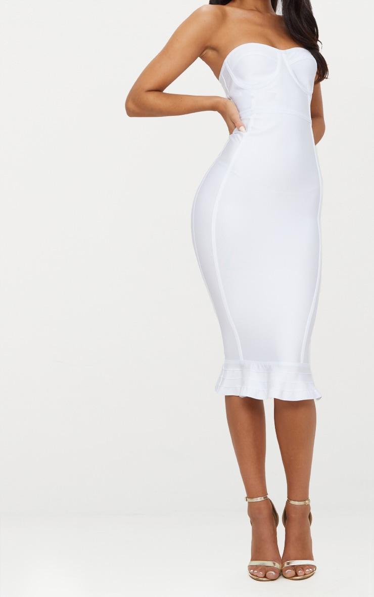 Roxina White Bandage Frill Hem Midi Dress 5