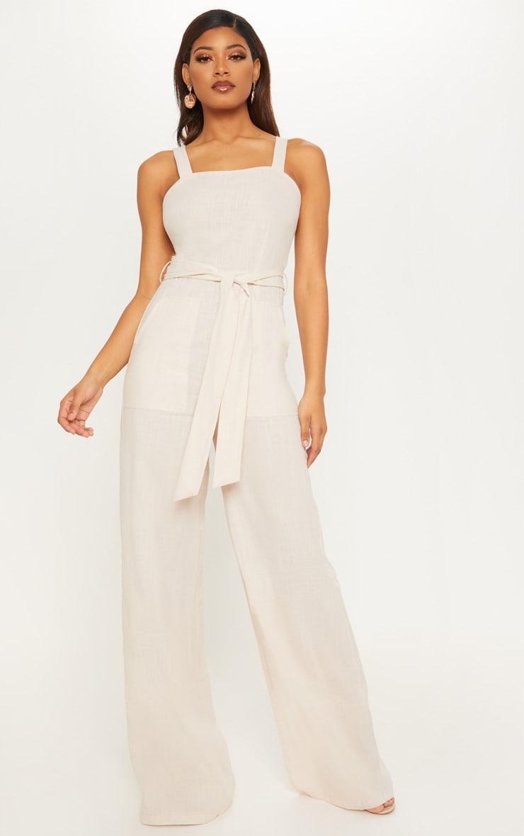 Tall Stone Woven Straight Neck Belted Jumpsuit 4