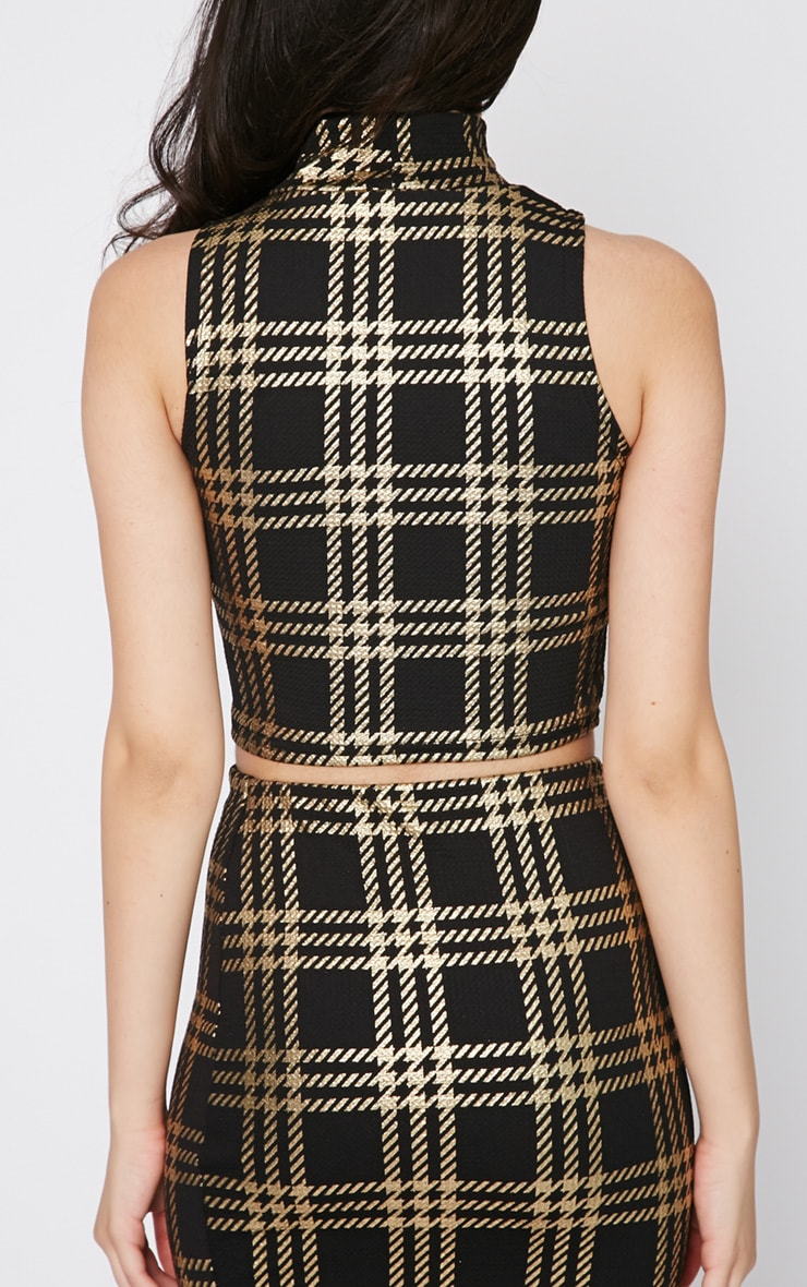 Totsi Black and Gold Checked Crop Top 2