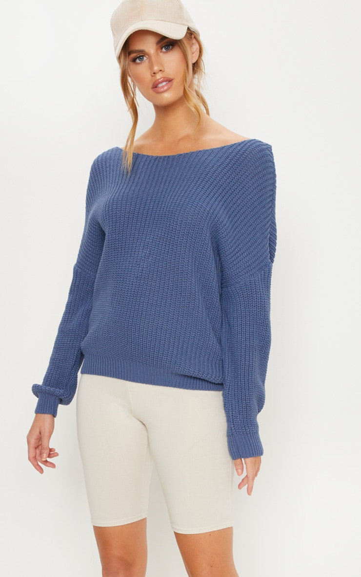 Dusky Blue Knitted Twist Back Jumper