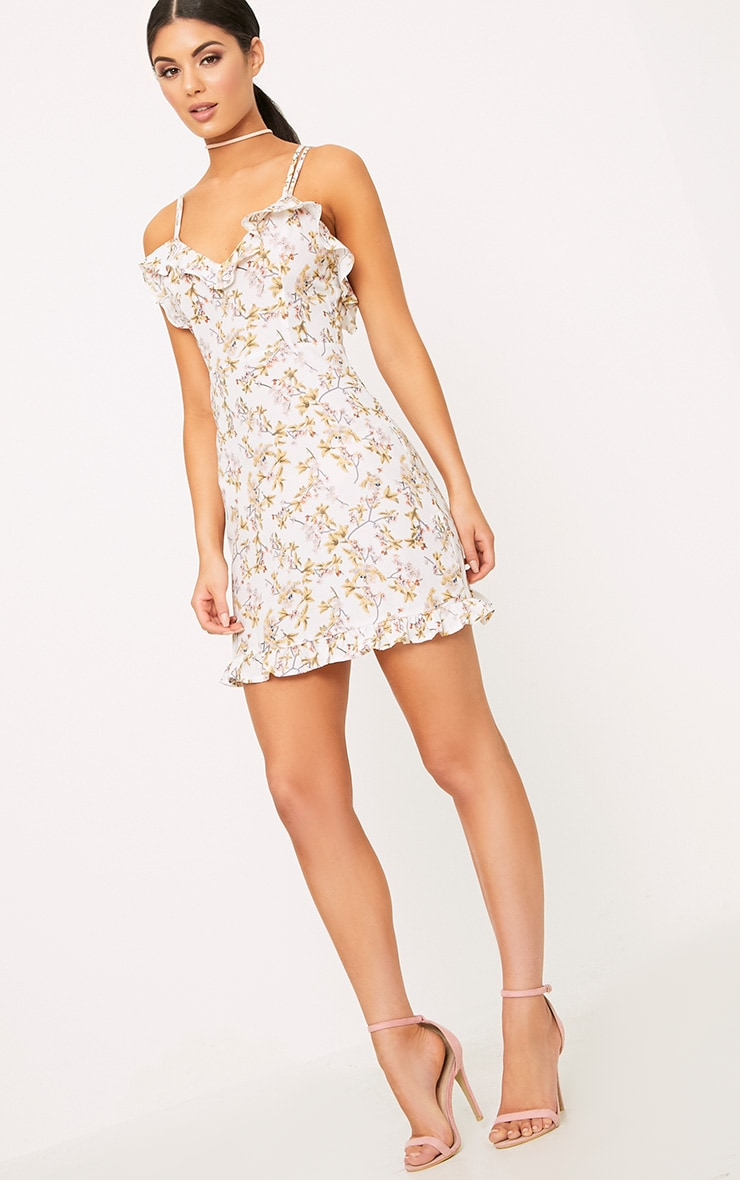 White Printed Frill Strappy Swing Dress  4