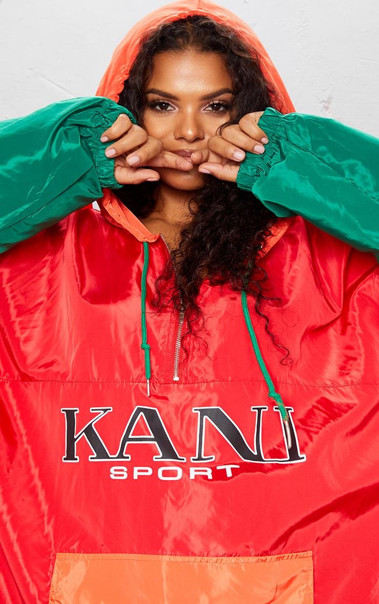 KARL KANI Red Colour Block Oversized Shell Dress 9