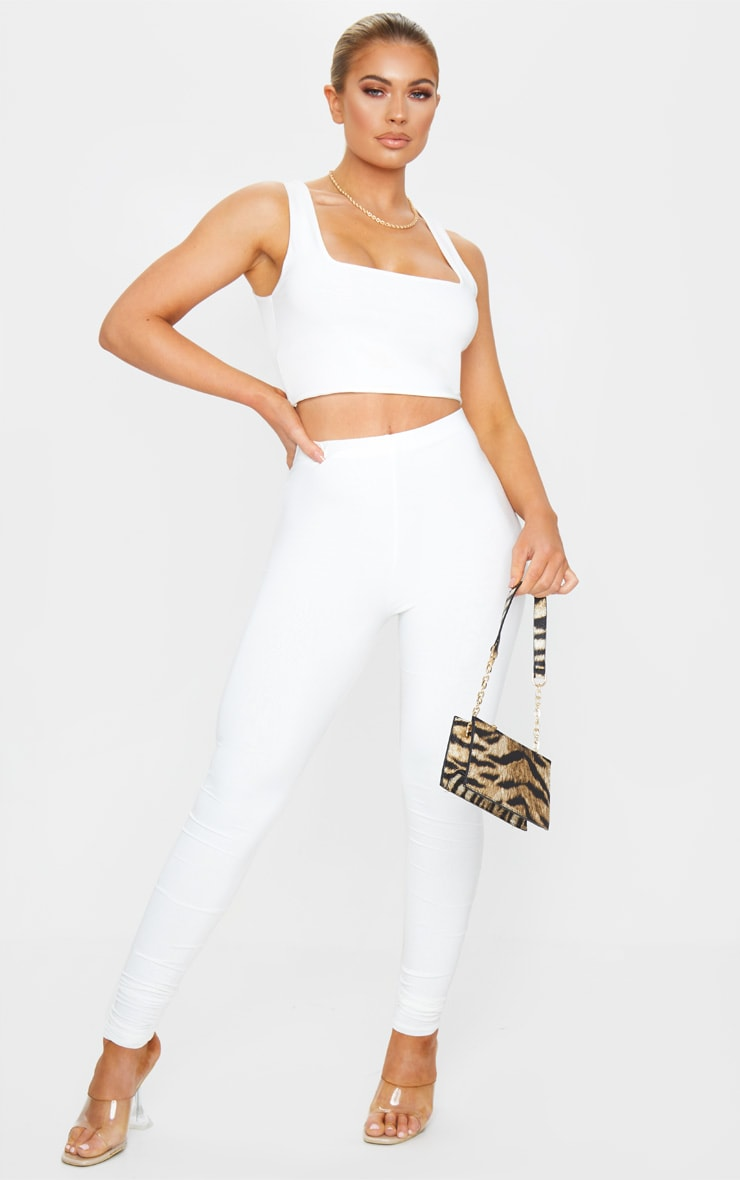 Cream Slinky High Waisted Leggings 1